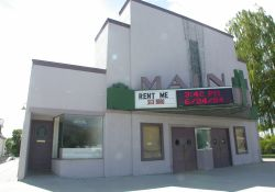 The front of the Main Theatre.  On the left side of the theater is a small shop. - , Utah