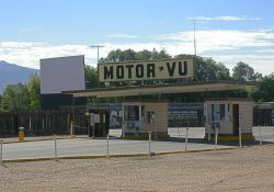 The three main ticket booths of the Motor-Vu Drive-In.  Behind them on the left is Screen 2. - , Utah