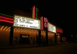 The marquee and entrance of the Cinemark Movies 10 at night. - , Utah