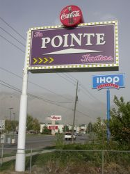 A sign for the Pointe Theatre along the nearby street. - , Utah