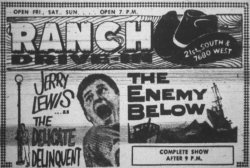 Newspaper advertisement for The Delicate Delinquent and The Enemy Below at the Ranch Drive-In in 1958.  The theater was located at 7680 West 2400 South (commonly referred to as 21st South). - , Utah