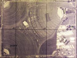 An aerial view of the Redwood Drive-In as a four-screen theater, probably in May 1976. - , Utah