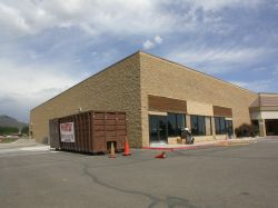 Front and side view of the theater space at the south end of the Richfield Plaza. - , Utah