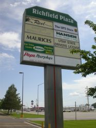 The Reel Theatre on the sign for the Richfield Plaza. - , Utah