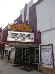 The theater's marquee has the name 'Villa Playhouse Theatre' above a five-line attraction board. - , Utah