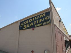 A banner on the side of the theater says, 'Stadium Seating Now Here!' - , Utah