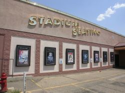 After the theater was retrofitted, the words 'Stadium Seating' were added above the poster cases on the left side of the entrance. - , Utah