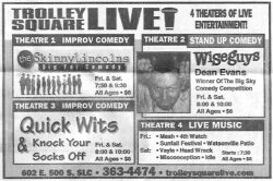 Newspaper ad for Trolley Square Live, which took over the theater after Cineplex Odeon abandoned it. - , Utah