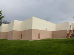 The back of the building.  On the right is the stairway from the projection booth.  On the left are the outside walls of three auditoriums. - , Utah